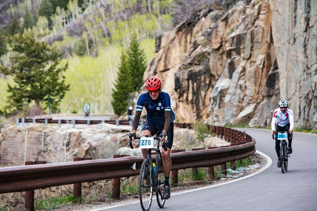 Competitors bike up Independence Pass near the two-mile mark during the 2021 annual Ride for the Pass event starting in Aspen on Saturday, May 22, 2021. (Kelsey Brunner/The Aspen Times)