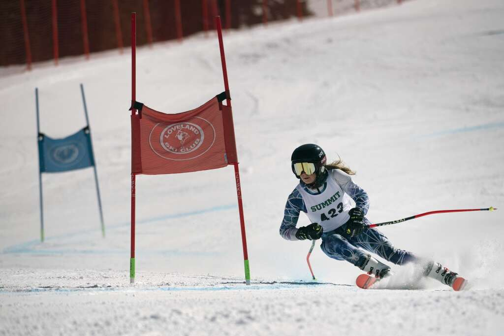 Summit High School Alpine ski team racer Paige Peterson competes in the girls giant slalom race during the Colorado High School State Alpine Ski Championships at Loveland Ski Area on Friday, March 12, 2021.   Photo by Jason Connolly / Jason Connolly Photography