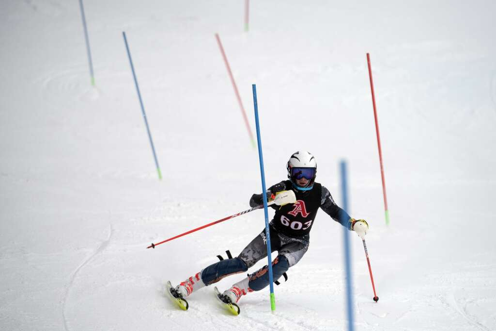 Aspen High School Alpine ski team racer Connor Stephen navigates gates while skiing the slalom course during the Colorado High School State Alpine Ski Championships at Loveland Valley Ski Area on Thursday, March 11, 2021. | Photo by Jason Connolly / Jason Connolly Photography