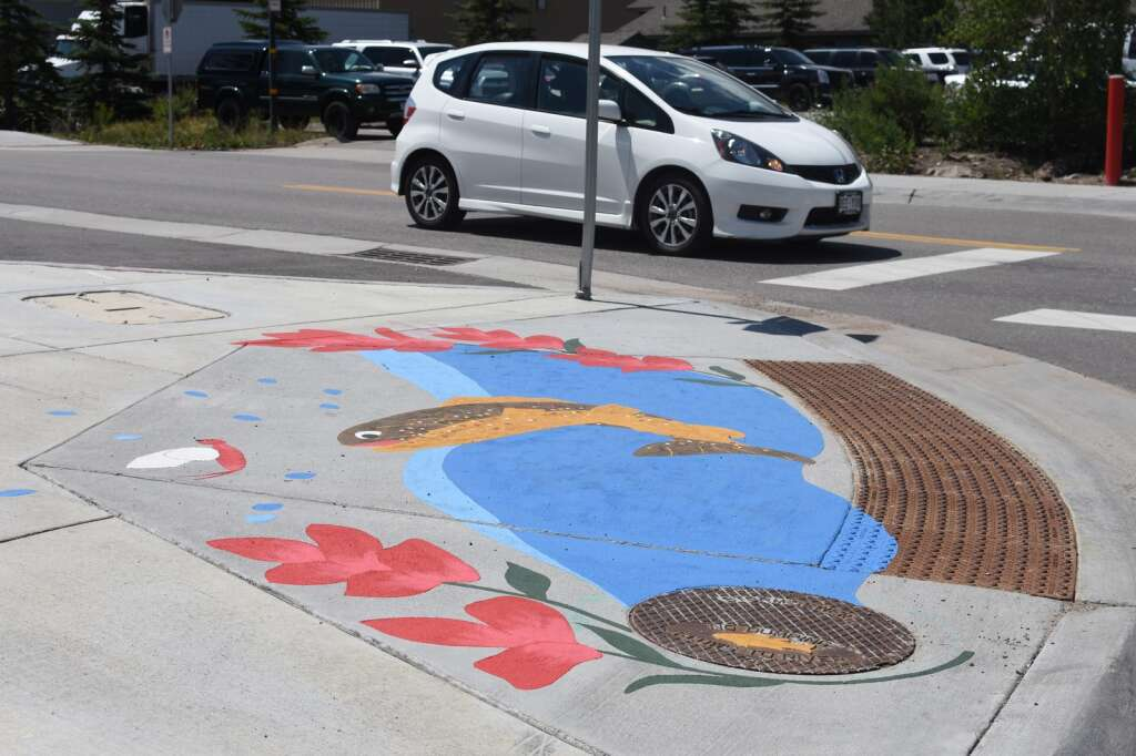 A storm drain mural painted by Erika Donaghy is pictured Thursday, July 22, in Silverthorne. | Photo by Lindsey Toomer / ltoomer@summitdaily.com