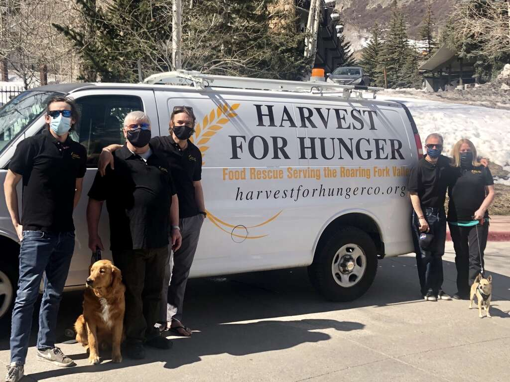 Harvest for Hunger founder and Executive Director Gray Warr (center) poses in front of the organization's van with the executive board, from left: Matt Hooks, Mark Severson, Pete Pelinski and Susan Muenchen. | Kaya Williams/The Snowmass Sun