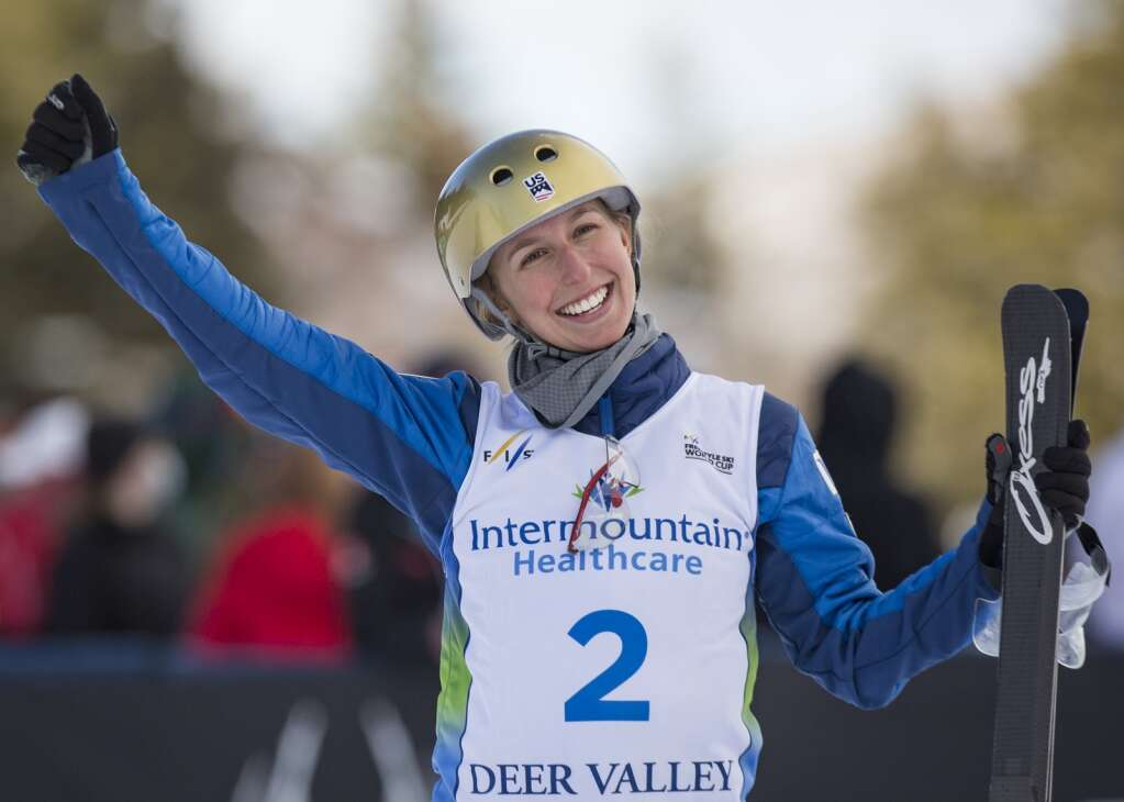 USA's Winter Vinecki (2) celebrates a second place finish among the women aerialists following the finals on White Owl. (Tanzi Propst/Park Record)