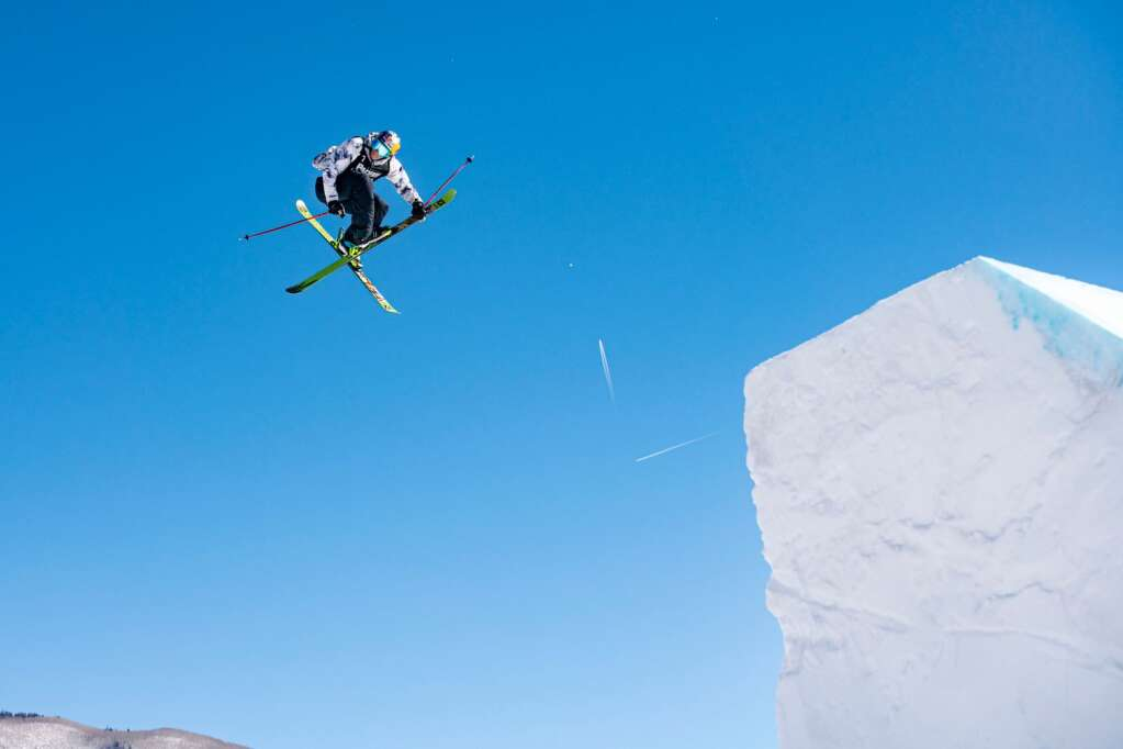 Freestyle skier Nick Goepper practices on the second big jump on the slopestyle course before finals at X Games 2021 at Buttermilk on Sunday, Jan. 31, 2021. (Kelsey Brunner/The Aspen Times)