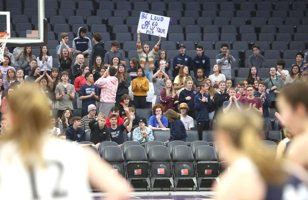 The home cheering crowd for the Lady Falcons made a good show of support during Thursday's championship game at the Golden 1 Center in Sacramento. | Photo: Elias Funez