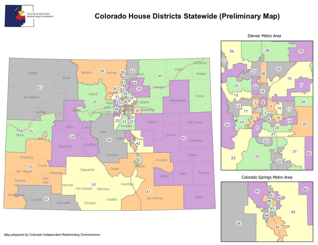 The preliminary Colorado House maps created by nonpartisan staff from the Independent Legislative Redistricting Commission.
