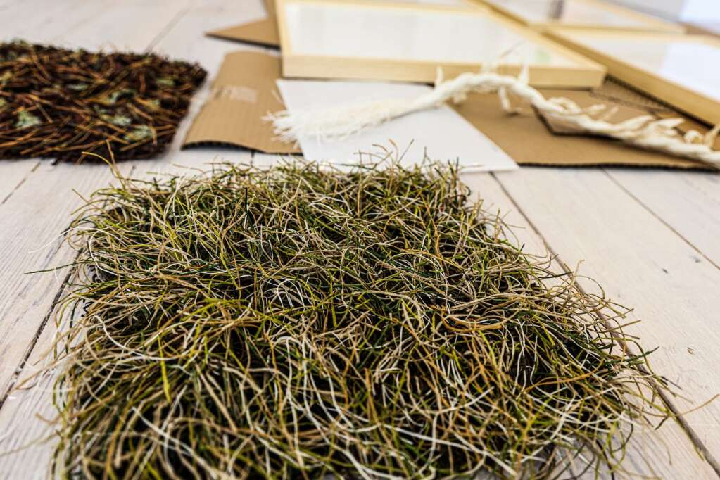 Pieces of Boulder artist Heather Cherry's exhibit wait to be put on display on Thursday, May 27, 2021, in the Art Base's new location in downtown Basalt. Photo by Austin Colbert/The Aspen Times.