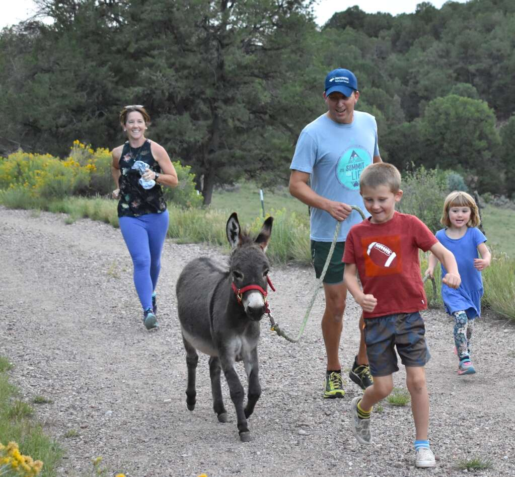 The After family, from left, Betsy, Brion, Julius and Arbaney with Dylan the miniature donkey during the Independence Run & Hike burro run at the Sutey Ranch on Aug. 26, 2021. | Tami Stroud/Courtesy photo