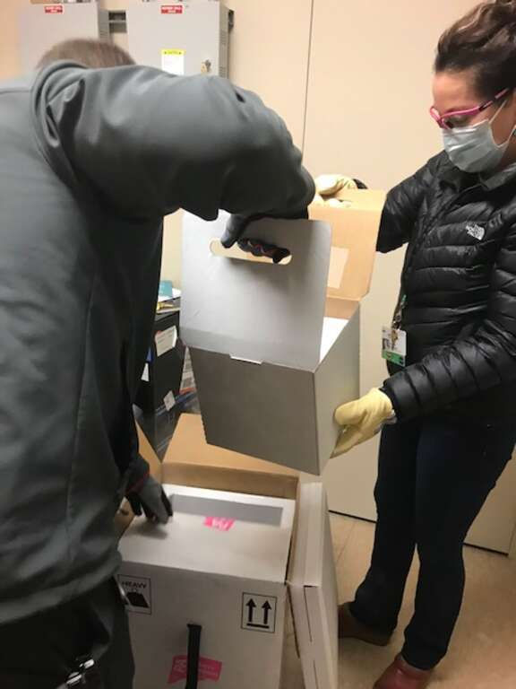 TFHS workers unload a portion of the Pfizer-BioNTech vaccines provided to Nevada County. The vaccine requires two shots in the upper arm, 21 days apart.