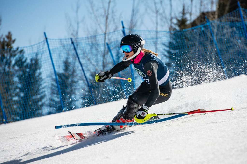 American alpine skier Morgan Ellis competes in the Women's Alpine Combined FIS event at Aspen Highlands on Wednesday, April 14, 2021. (Kelsey Brunner/The Aspen Times)