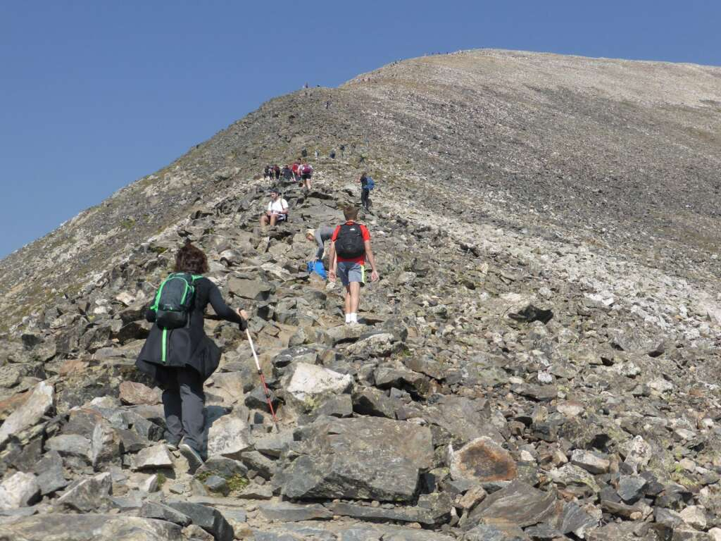 Hikers head up Quandary Peak on a weekday in August earlier this decade. Quandary has established itself as Colorado's busiest 14er.   CFI-Lloyd Athearn/courtesy photo