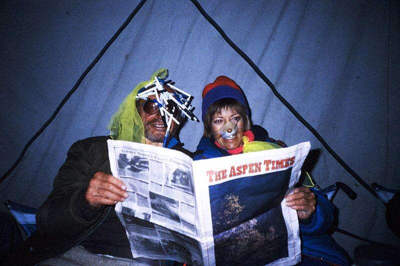 Reader Linda Koones submitted this photo from 1990 when she and Walter Ganz brought an Aspen Times to Dolpo, Nepal. Rare are Where's Your Aspen Times submissions since the pandemic struck, so feel free to dig up an old one and email it to rcarroll@aspentimes.com. Courtesy photo