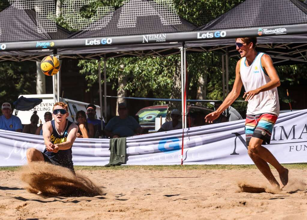 The men's open finals of the MotherLode Volleyball Classic on Monday, Sept. 6, 2021, at Koch Lumber Park in Aspen. Photo by Austin Colbert/The Aspen Times.
