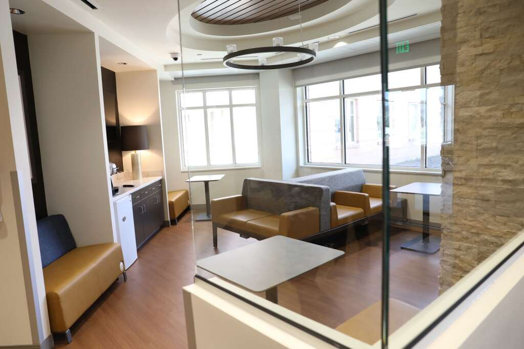 The expanded space inside the new UCHealth Yampa Valley Medical Center emergency department  offers a lounge where loved ones and family to wait. (Photo by John F. Russell)