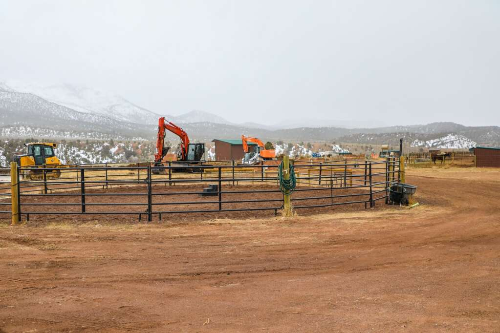 The current circle arena with work starting to build a new barn and indoor arena for the Mountain Valley Horse Rescue March 23 in McCoy.