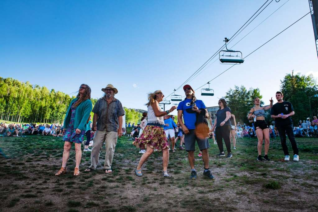 Fanny Hill Concert attendees dance to the Pandas & People set list in Snowmass Village on Thursday, June 10, 2021. (Kelsey Brunner/The Aspen Times)