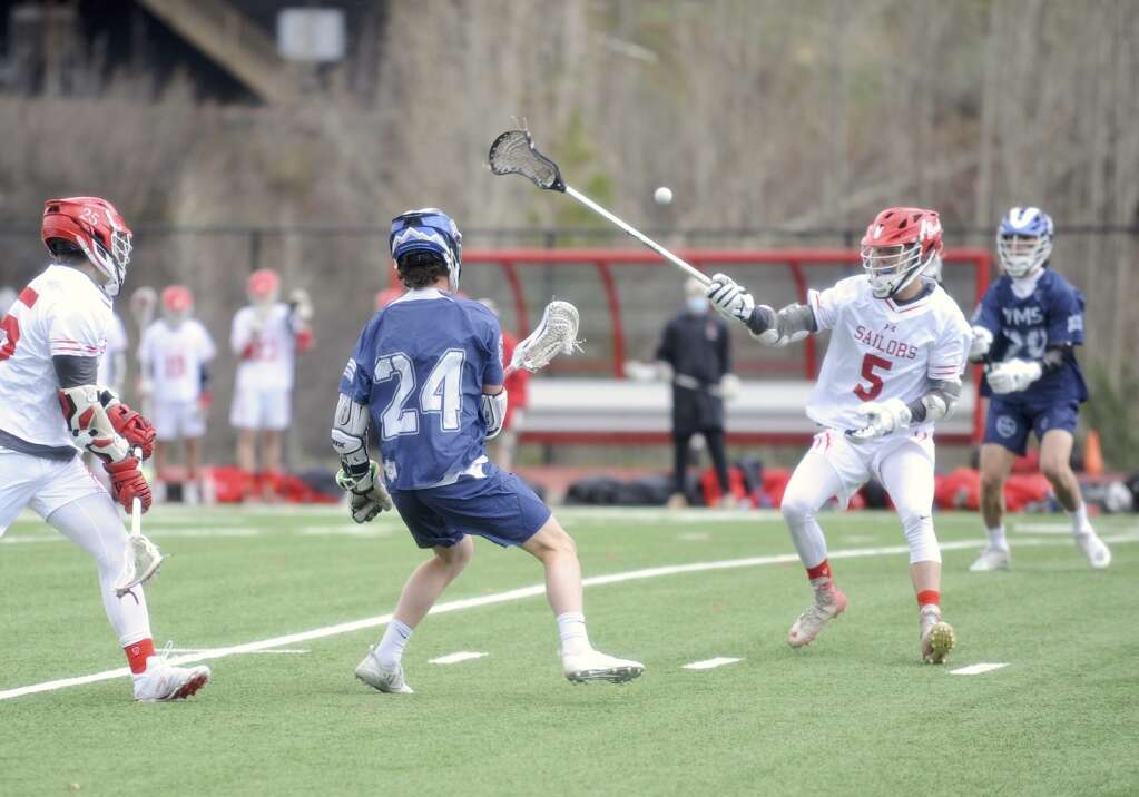 Steamboat Springs junior Tommy Meissner tries to make a pass tricky for the Gore Rangers during a game against the Vail Mountain boys lacrosse team at home on Tuesday. (Photo by Shelby Reardon)