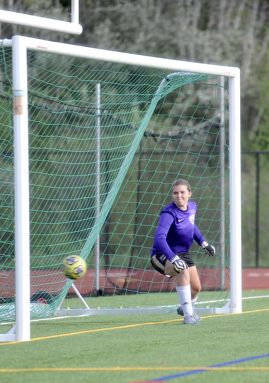The Battle Mountain goalkeepr watches a penalty kick float into the net during a game at Steamboat Springs on Tuesday night. (Shelby Reardon)