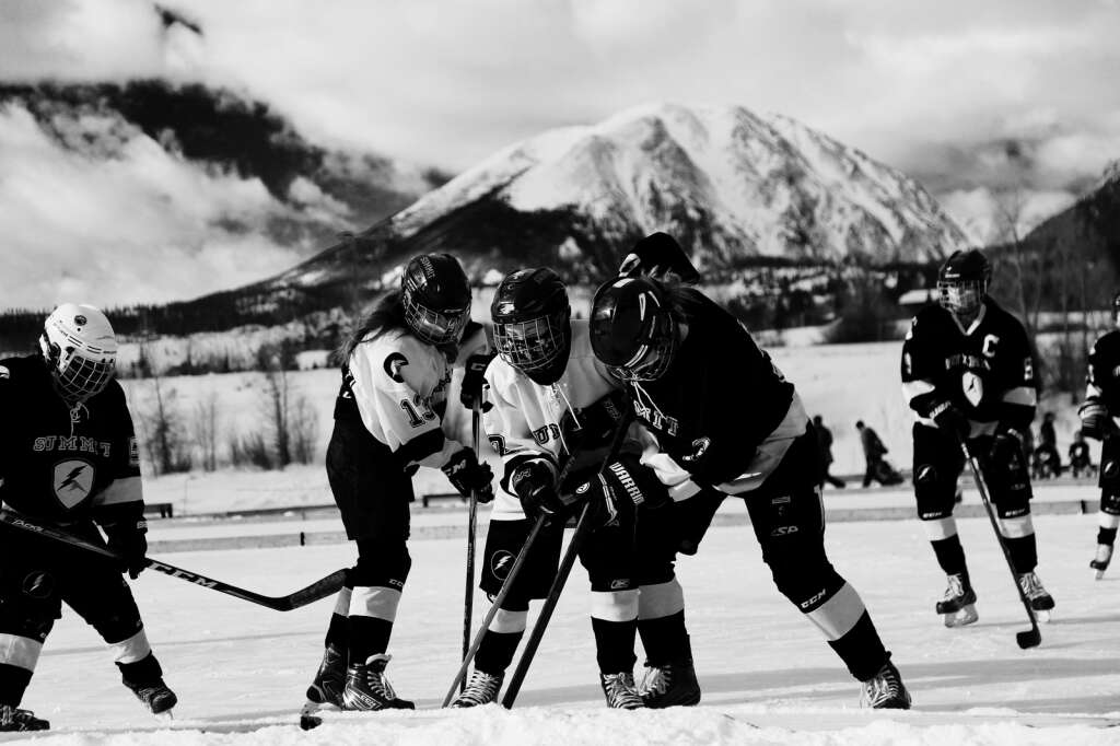 Summit Youth Hockey players skate at this past weekend's Colorado Youth Pond Hockey Tournament at North Pond Park in Silverthorne. | Photo from Michael Ascher