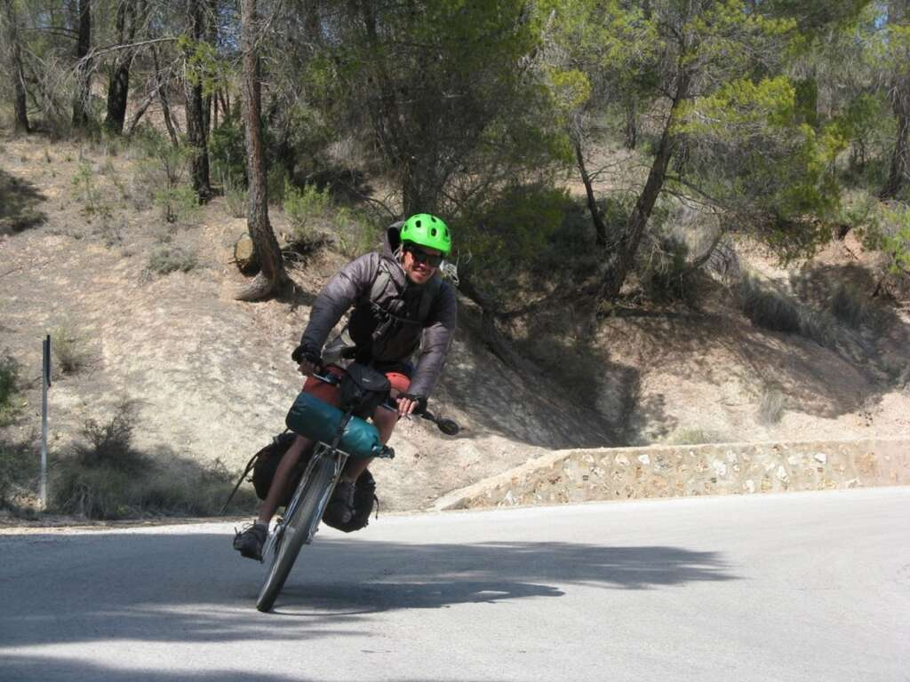 Banking a curve on one of many mountain roads in Spain.