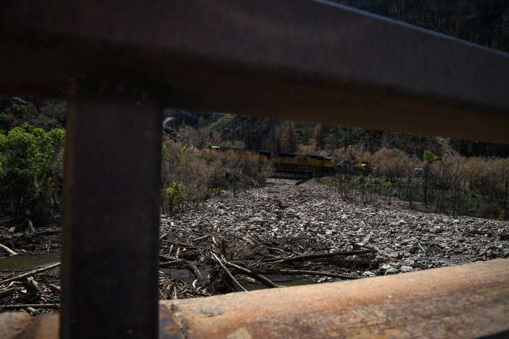 A major debris slide partially blocks a section of the Colorado River near MM124 in Glenwood Canyon after a flash flood swept rocks and debris down the Devils Hole drainage on Thursday, July 22. |Chelsea Self / Post Independent