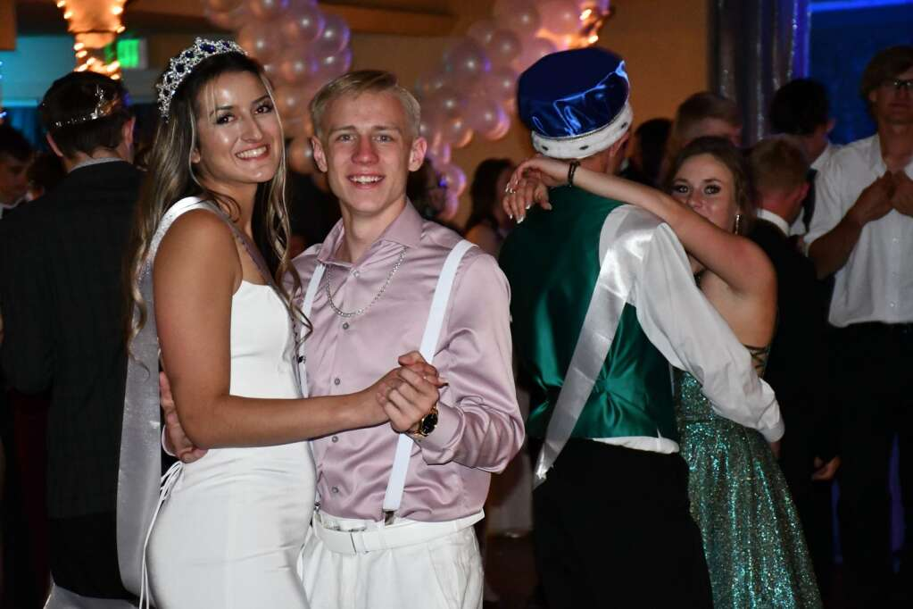 Hannah Vazquez shares a dance with Chris Maneotis at Prom Saturday. (Andy Bockelman / For Craig Press)