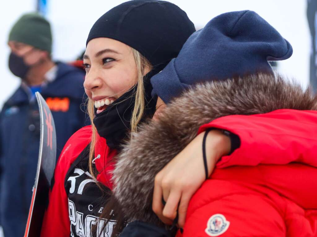 Eileen Gu hugs her mother after winning the women's ski slopestyle contest at X Games Aspen on Saturday, Jan. 30, 2021, at Buttermilk Ski Area. Photo by Austin Colbert/The Aspen Times.