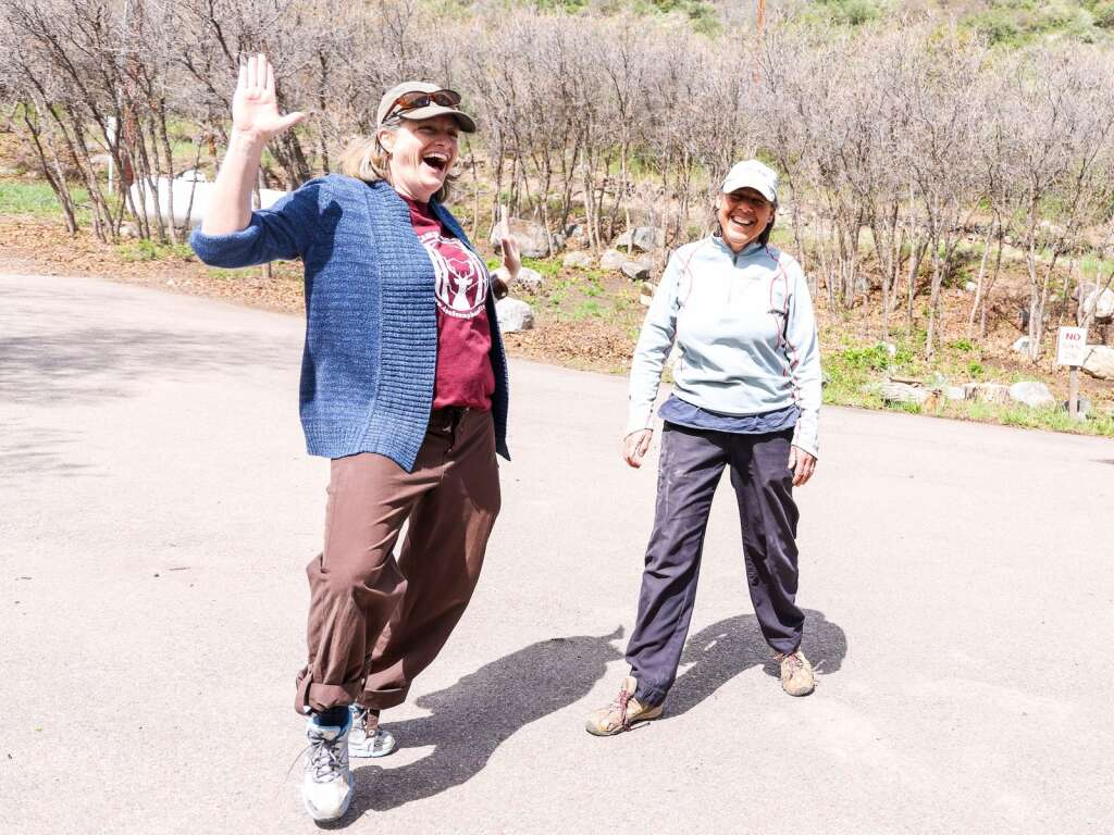 Aspen Camp of the Deaf and Hard of Hearing board members Christy Smith (left) and Karen Immerso share a laugh at the campus in Old Snowmass on Sunday, May 23, 2021. | Austin Colbert/The Snowmass Sun
