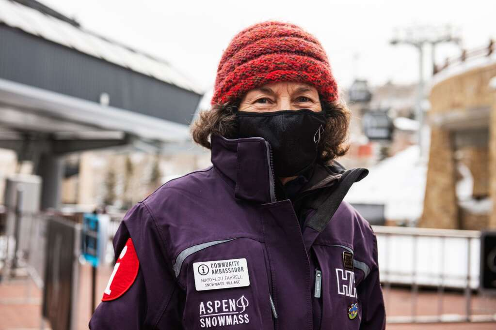Longtime Snowmass resident and Community Ambassador for Aspen Snowmass, Mary Lou Farrell, works near the Elk Camp Gondola in Snowmass Base Village on Tuesday, Jan. 26, 2021. (Kelsey Brunner/The Aspen Times)