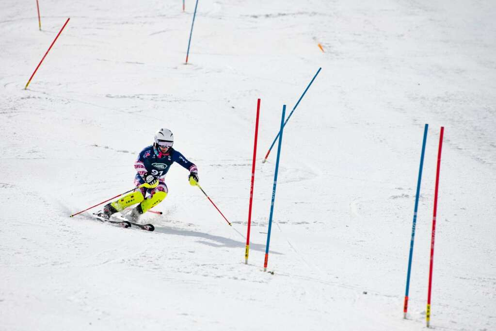 United States alpine skier Garret Driller competes in the second run of the U.S. Alpine Men's Slalom Championships at Aspen Highlands on Monday, April 5, 2021. Driller finished in third place. (Kelsey Brunner/The Aspen Times)