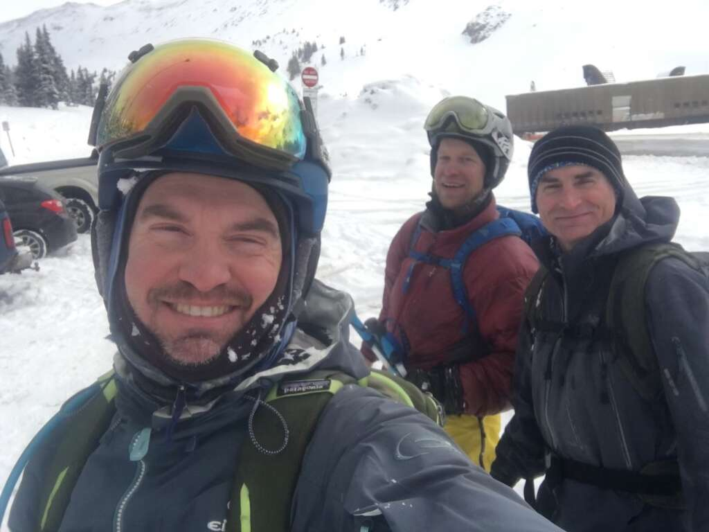 Mike Wright (left), Tom Fralich (center) and Brad Blacketor poses for a photo together during a day backcountry skiing at the Continental Divide. | Photo from Tom Fralich