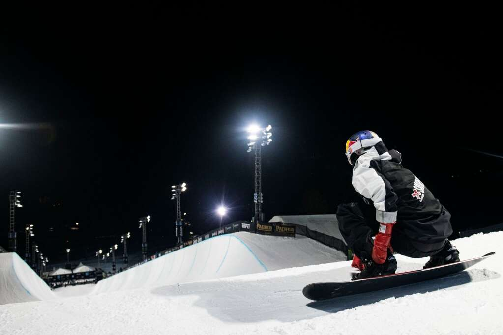 Australian snowboarder Scotty James takes a moment at the top of the superpipe before dropping in to his first run at the 2021 X Games men's snowboard finals at Buttermilk on Sunday, Jan. 31, 2021. (Kelsey Brunner/The Aspen Times)