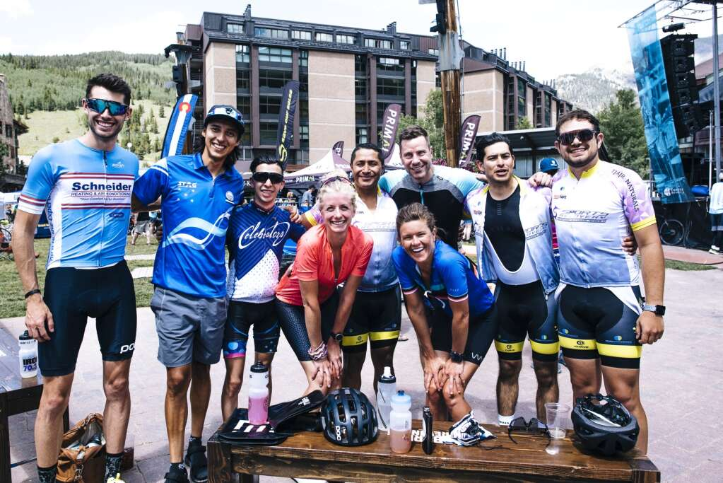 Cyclists pose for a photo together at Copper Mountain Resort during a previous edition of the Copper Triangle. | Photo by Justin Balog / Copper Triangle