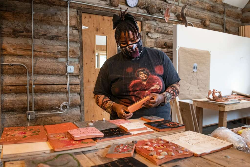 Precious Okoyomon presents ceramic work for his large installation on the roof of the Aspen Art Museum while working in the Anderson Ranch ceramics studio in Snowmass on Thursday, May 13, 2021 (Kelsey Brunner / The Aspen Times)