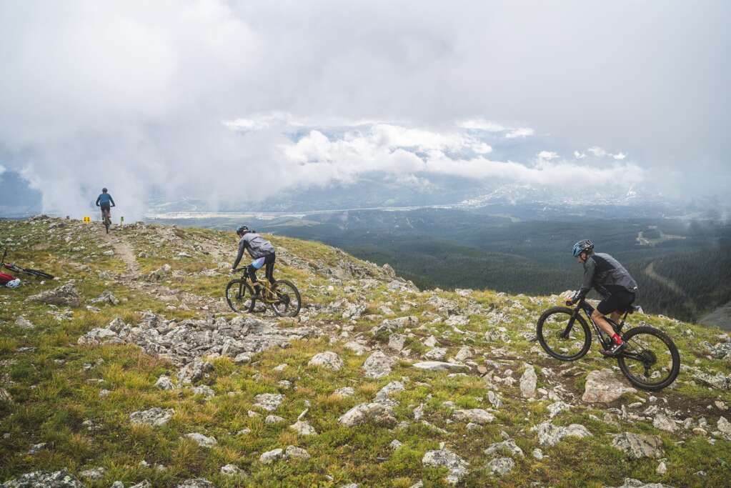 Mountain bikers navigate rocky terrain above tree line during Thursday's fifth stage of the six-day Breck Epic mountain bike race.   Photo by Devon Balet / Breck Epic