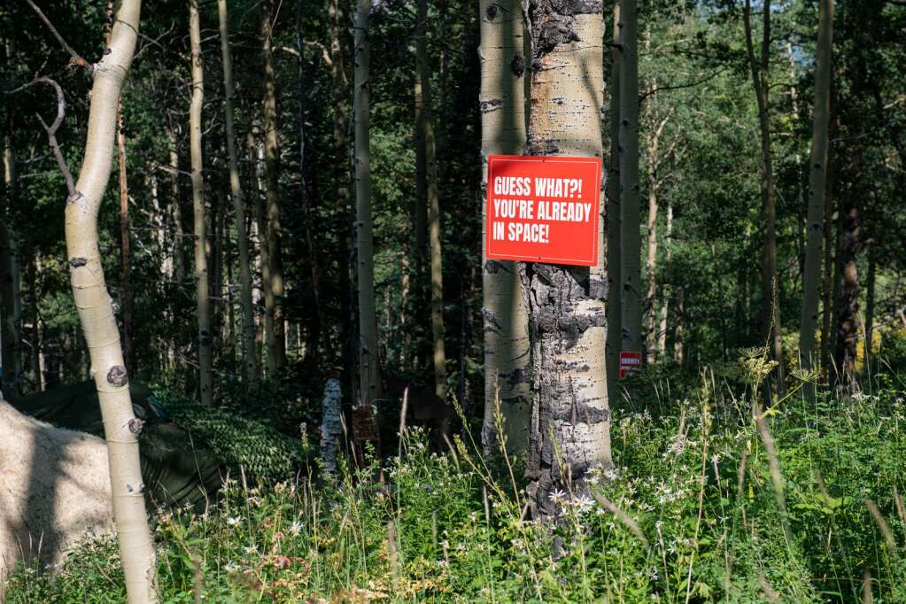 """The """"Aspen Space Station"""" property holds numerous signs that urge viewers to take into consideration the importance of Earth. (Kelsey Brunner/The Aspen Times)"""