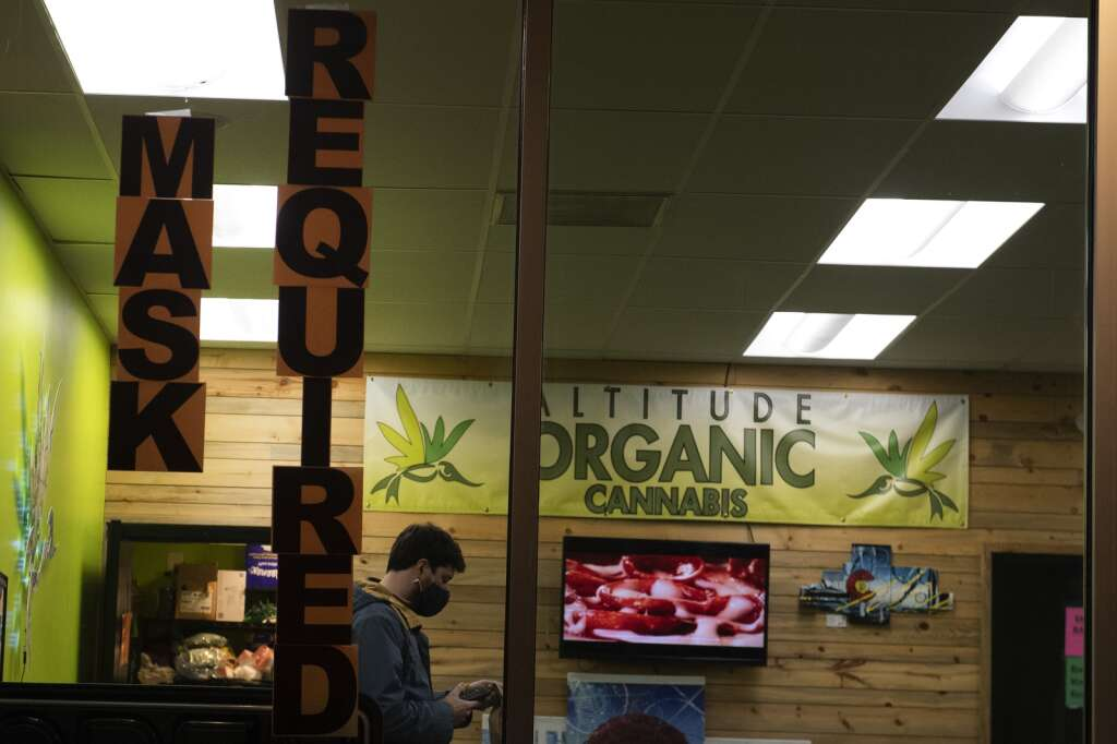 A sign enforcing mask compliance is posted at Altitude Organic Cannabis in Dillon on Tuesday, Feb. 16. | Photo by Jason Connolly / Jason Connolly Photography