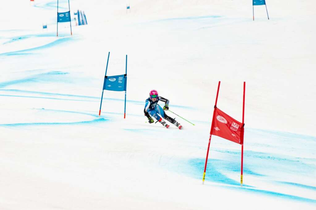 Canadian alpine skier Sarah Bennett makes turns during the second run of the Women's Giant Slalom National Championship at Aspen Highlands on Thursday, April 15, 2021. Bennett finished 11th overall. (Kelsey Brunner/The Aspen Times)