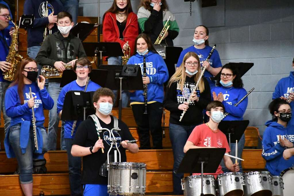 The Moffat County pep band plays for the crowd Tuesday. (Andy Bockelman / For Craig Press)