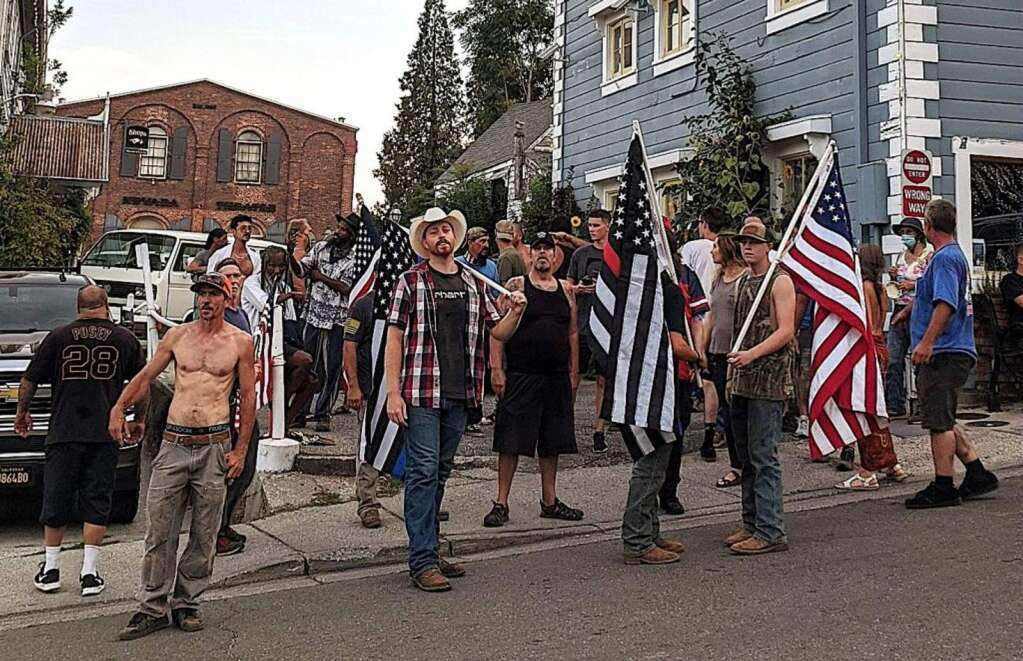 A group of 15 to 20 counter-protestors showed up Aug. 9 to block a Black Lives Matter march through Nevada City.   Photo courtesy Janeen Singer