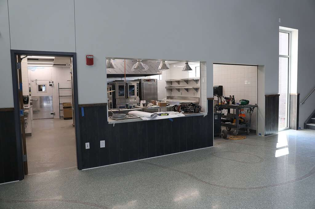 The kitchen area is ready to serve students at the new Sleeping Giant School. (Photo by John F Russell)