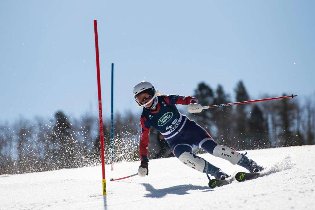 Great Britain's alpine skier Brooke Hansford competes in the Women's Alpine Combined FIS event at Aspen Highlands on Wednesday, April 14, 2021. Hansford did not complete this run. (Kelsey Brunner/The Aspen Times)