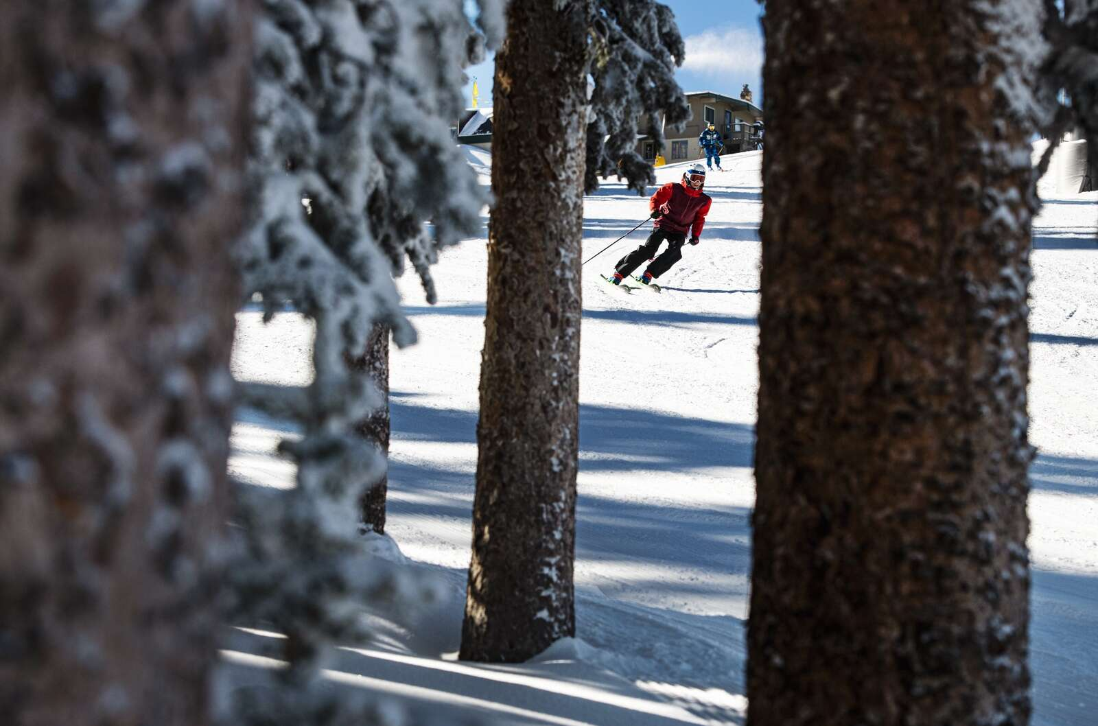 A skier drops in from the Ajax Express Lift on opening day at Aspen Mountain on Wednesday, Nov. 25, 2020. (Kelsey Brunner/The Aspen Times)