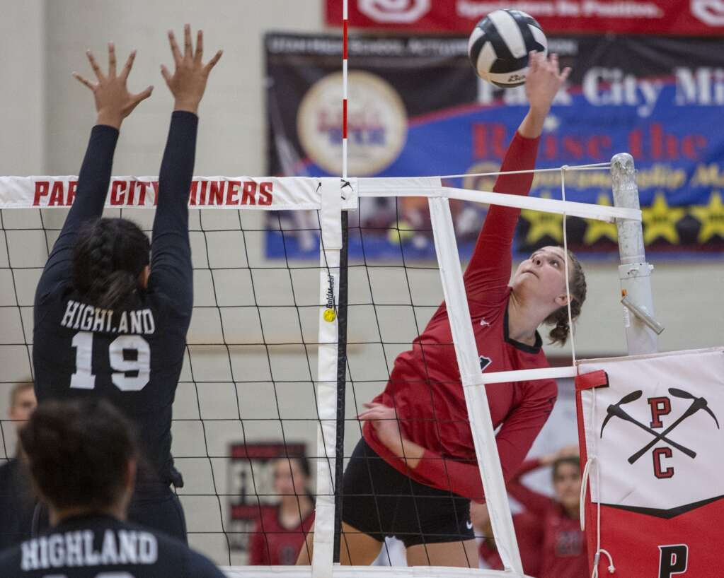 Park City High School senior Cassie Prior (1) spikes the ball over the net during the Miners' matchup against Highland High School Tuesday evening, Sept. 7, 2021. The Miners swept the Rams 3-0. (Tanzi Propst/Park Record)