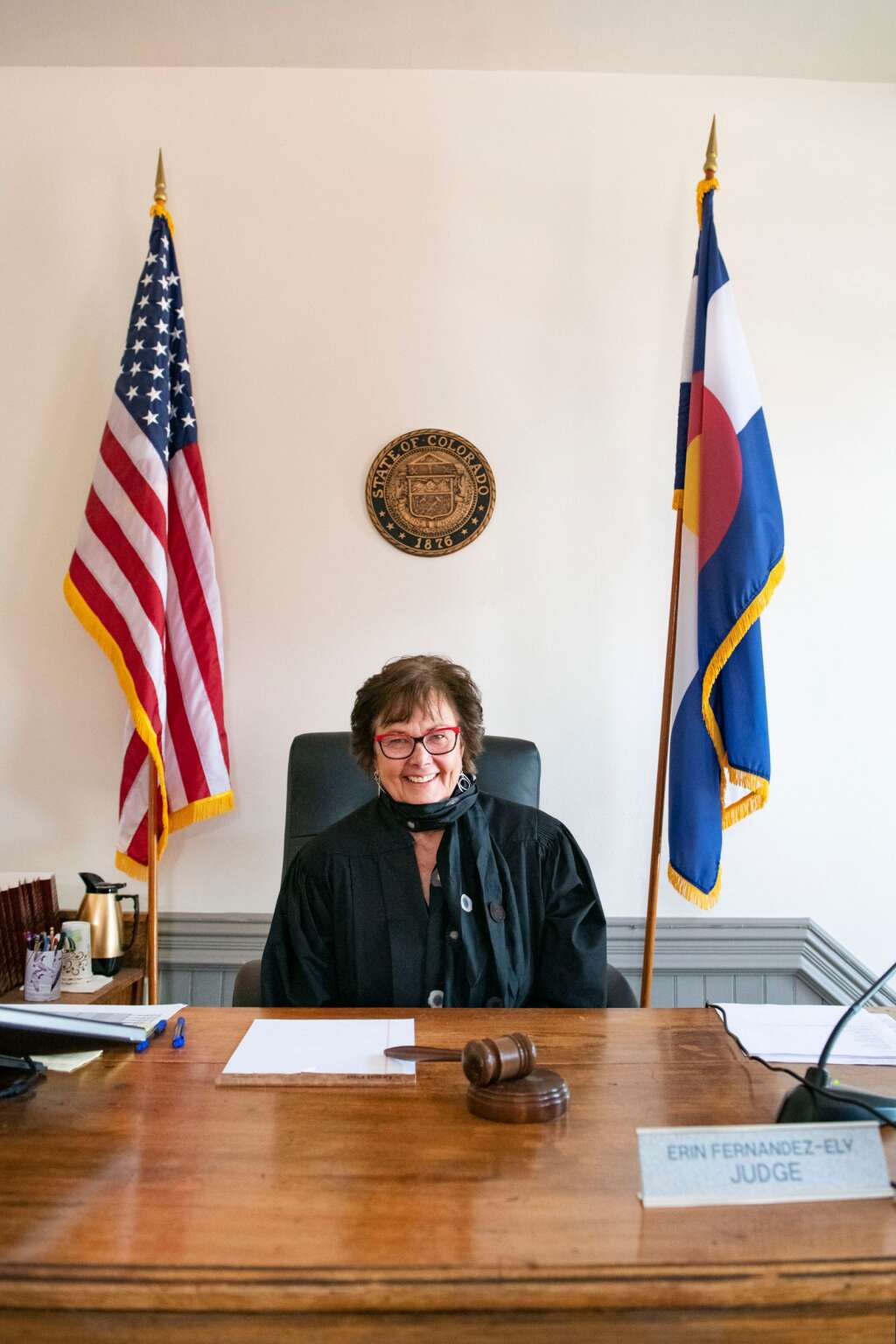 Pitkin County Judge Erin Fernandez-Ely sitting on the bench earlier this month. (Kelsey Brunner/The Aspen Times)