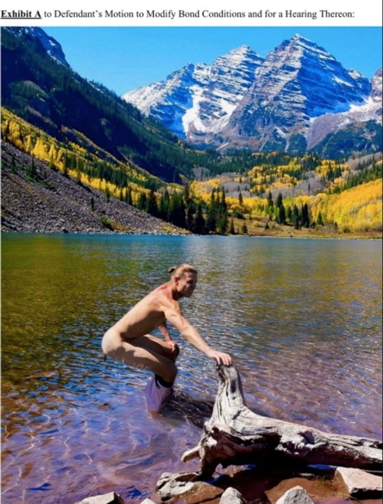 Exhibit A claims to show how Lesh photoshopped himself on a stock photo of Maroon Bells Lake.