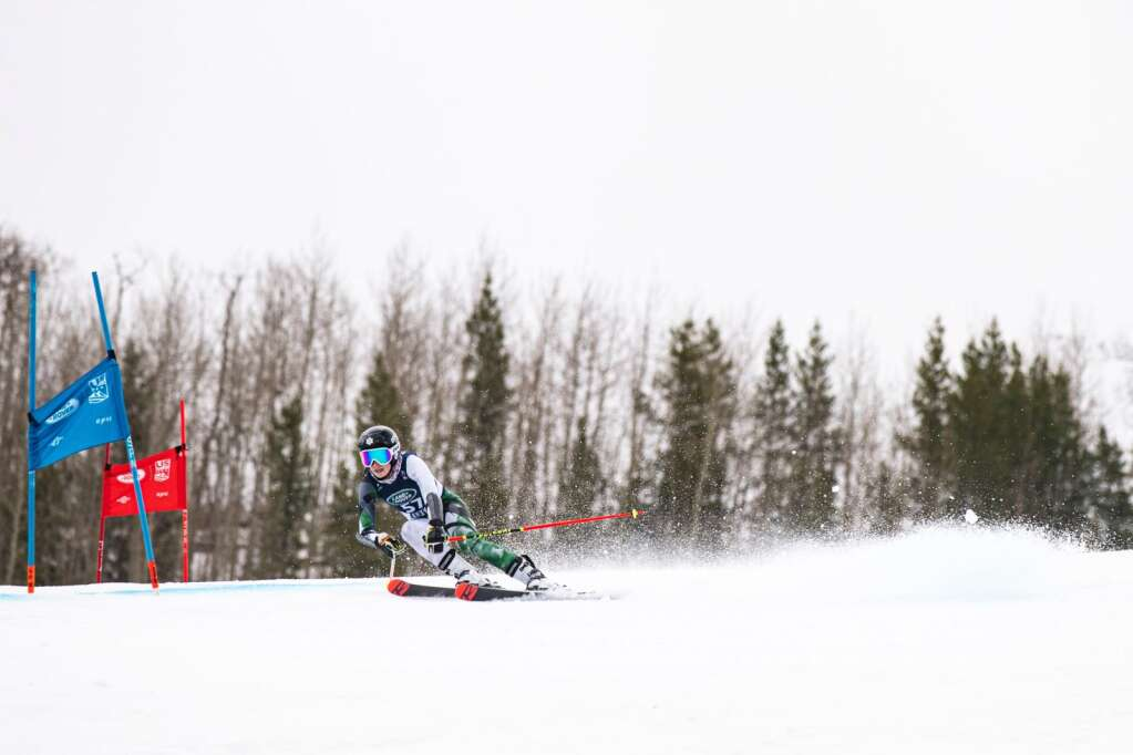 American alpine skier Gwen Wattenmaker makes turns during the first run of the Women's Giant Slalom National Championship at Aspen Highlands on Thursday, April 15, 2021. (Kelsey Brunner/The Aspen Times)