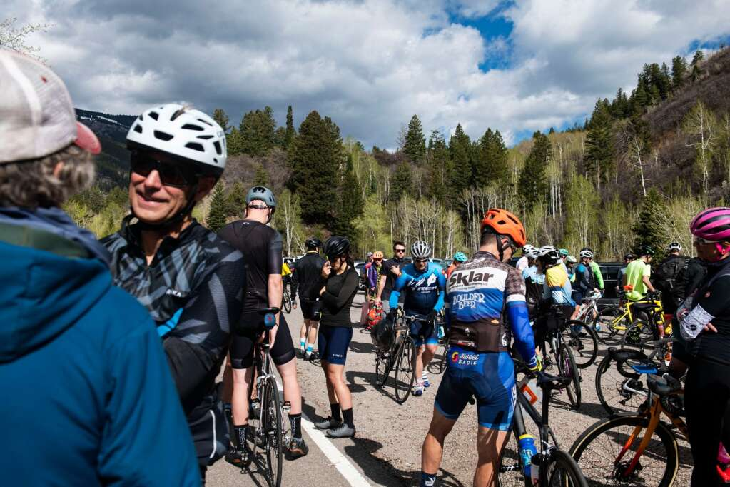 Bikers prepare for the Ride for the Pass annual event at the starting line in Aspen on Saturday, May 22, 2021. (Kelsey Brunner/The Aspen Times)