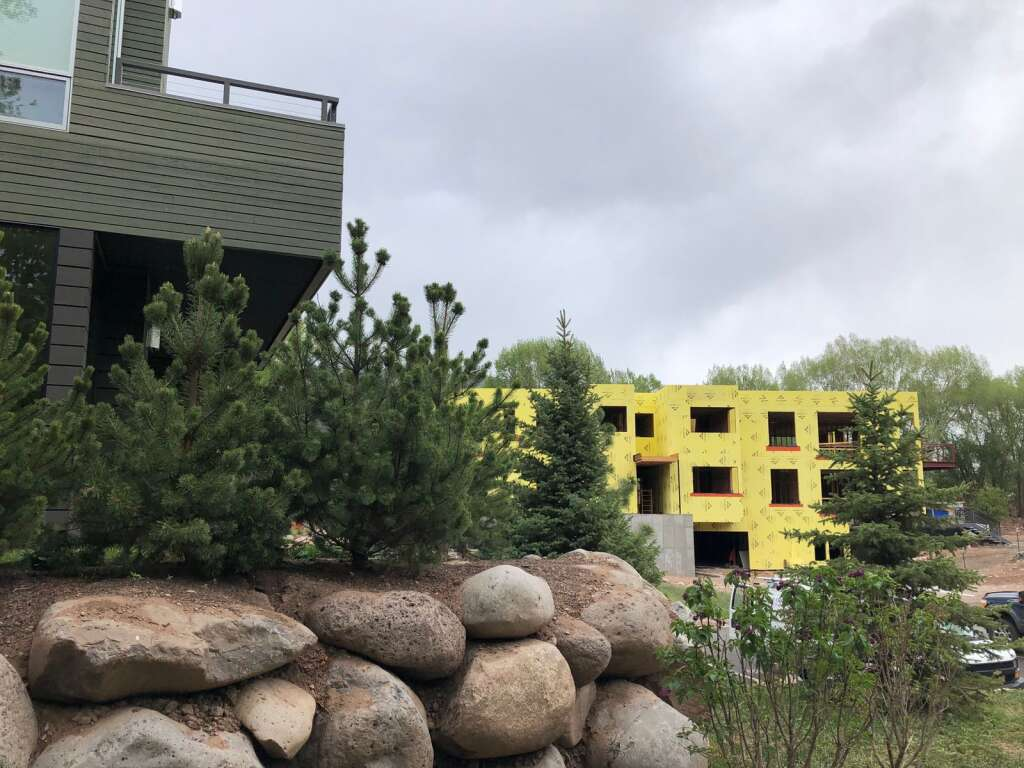 Work is nearing completion on the seven and final building in the Park Modern section of Willits. | Scott Condon/The Aspen Times