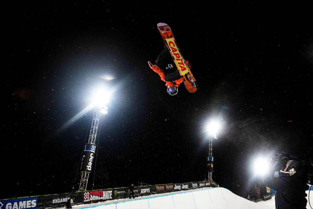 X Games snowboarder Chase Josey competes in the Men's Snowboard Superpipe qualifier on Wednesday, Jan. 22, 2020. Josey finished third to qualify for Thursday night's final. (Kelsey Brunner/The Aspen Times)