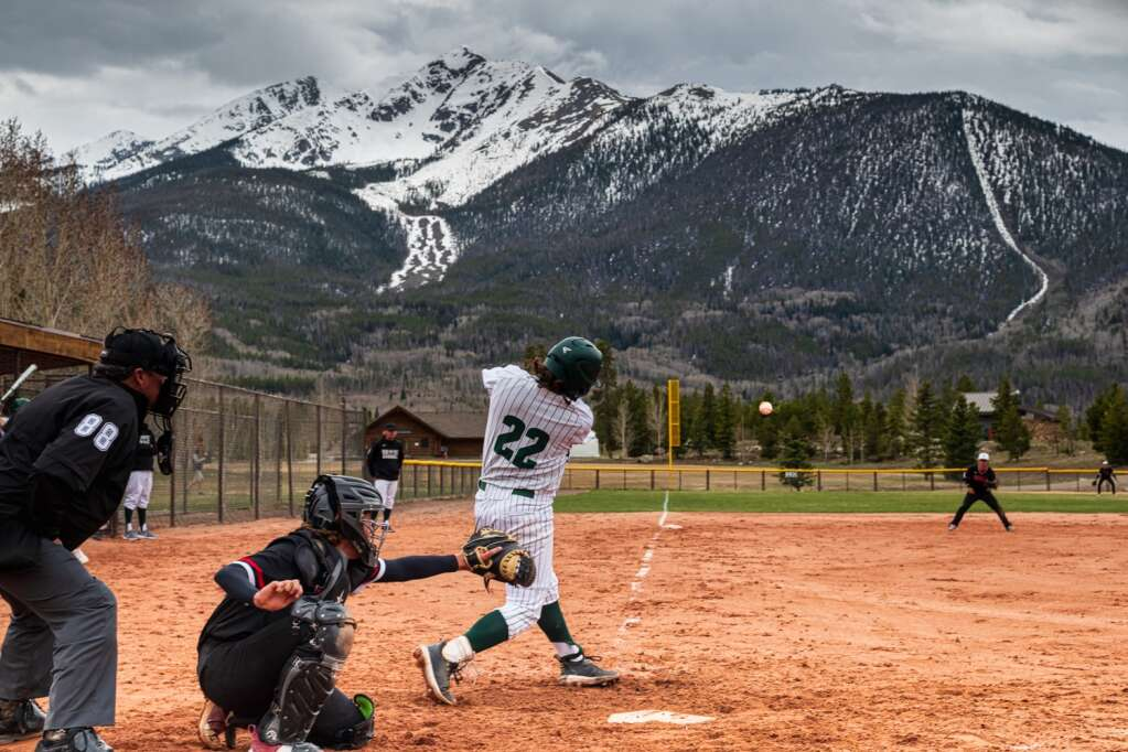 Will Koll sends a shot to left field during the Summit High School varsity baseball team's pair of wins over Eagle Valley at the Frisco Peninsula Recreation Area in Frisco on Tuesday.   Photo by Joel Wexler / Rocky Mountain.Photography